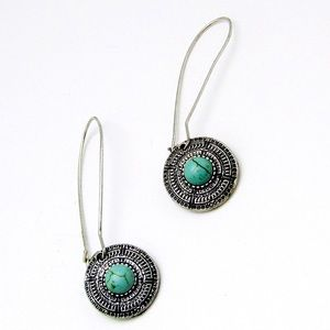 Vintage turquoise and silver tone earrings